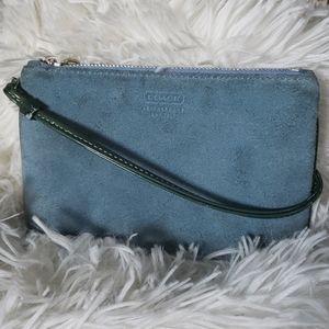 Coach Leatherware Vintage Blue Suede Wristlet